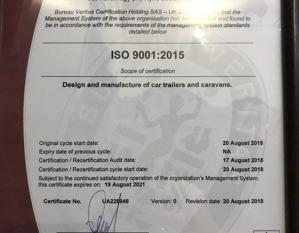 ISO 9001 2015 Lifestyle Camper